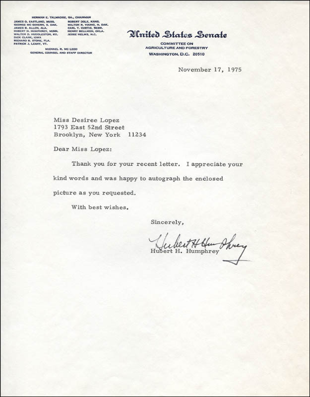 Image 1 for Vice President Hubert H. Humphrey - Typed Letter Signed 11/17/1975 - HFSID 312403