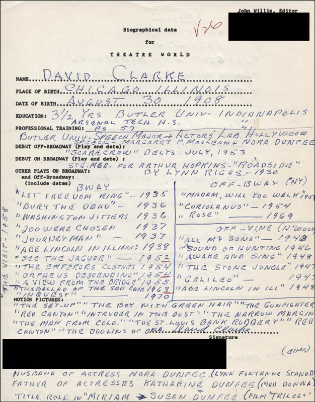 actors handwritten resumes ryan s hope