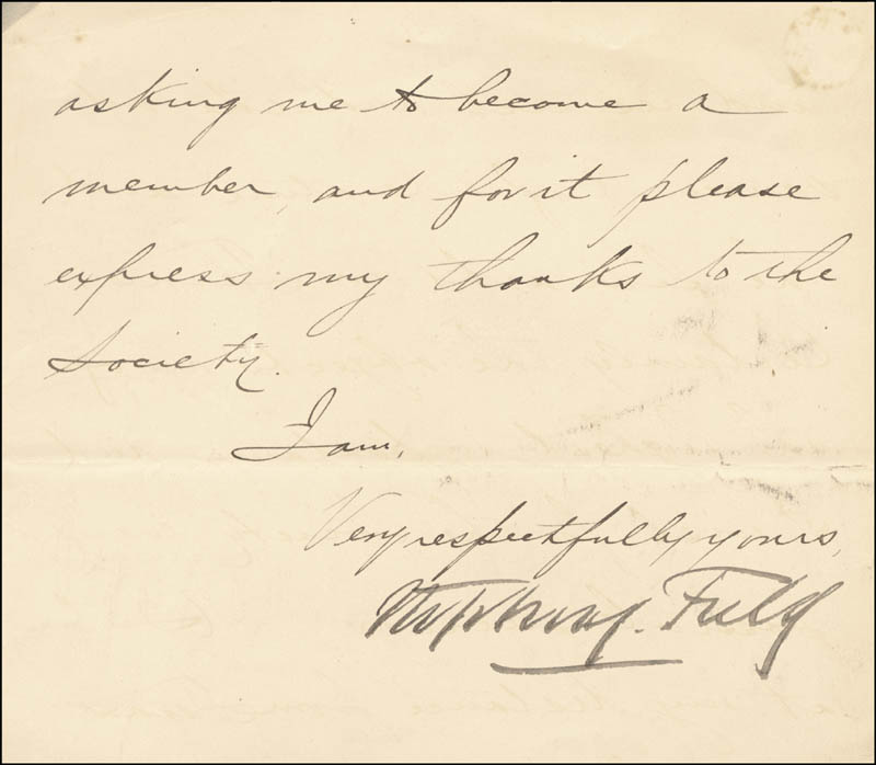 Image 1 for Associate Justice Stephen J. Field - Manuscript Letter Fragment Signed - HFSID 31258
