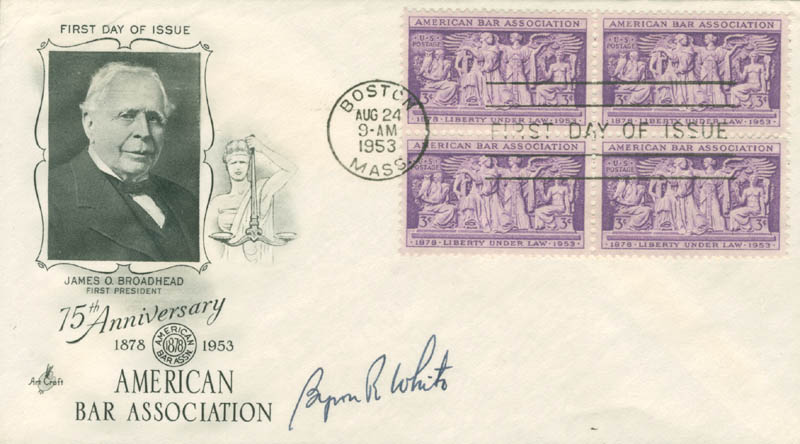 Image 1 for Associate Justice Byron R. White - First Day Cover Signed - HFSID 31283