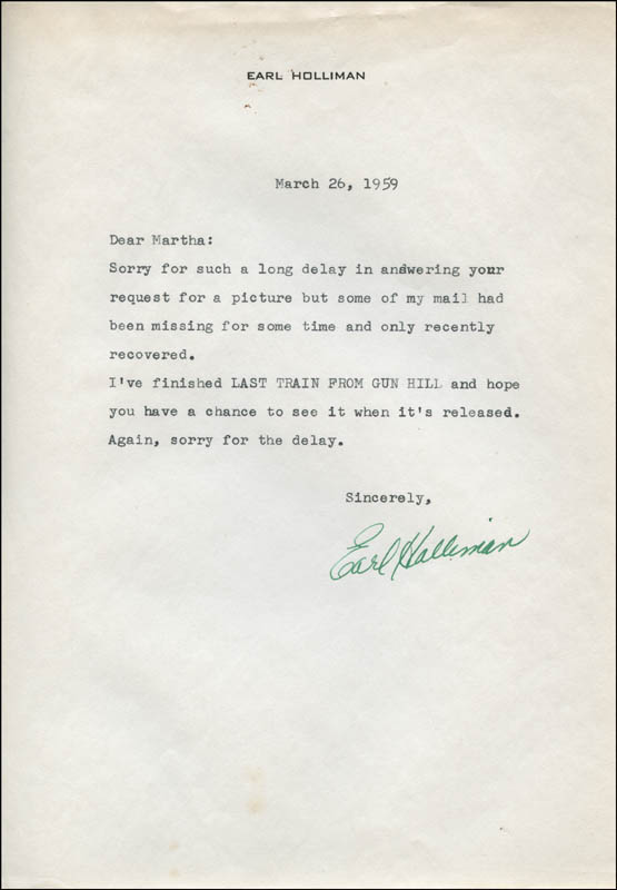 Image 1 for Earl Holliman - Typed Letter Signed 03/26/1959 - HFSID 312906