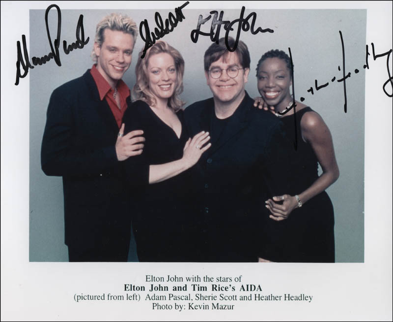 Image 1 for Elton John And Tim Rice'S Aida Play Cast - Autographed Signed Photograph with co-signers - HFSID 312986