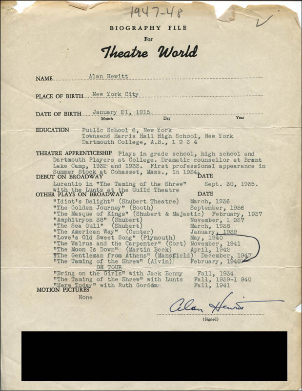 Image 1 for Alan Hewitt - Typed Resume Signed - HFSID 313003