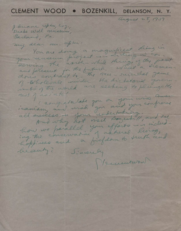 Image 1 for Clement Wood - Autograph Letter Signed 08/28/1939 - HFSID 313074