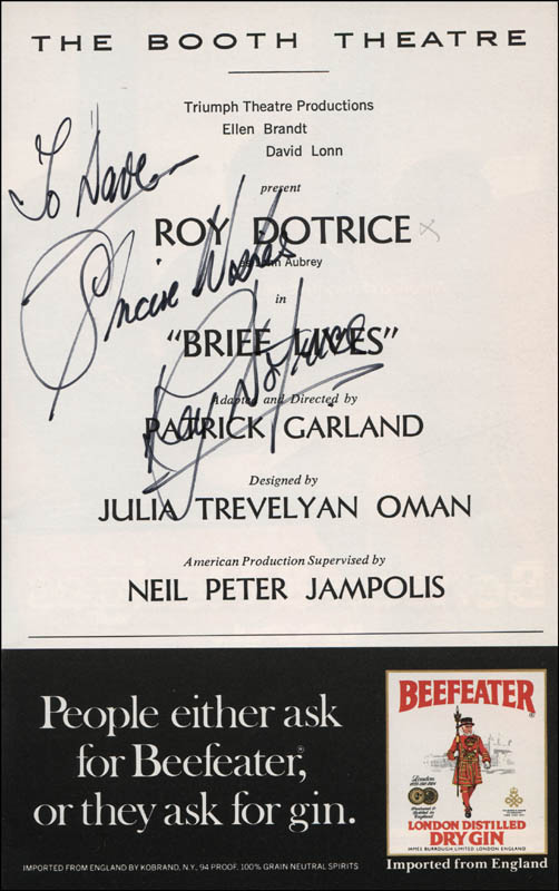 Image 1 for Roy Dotrice - Inscribed Show Bill Signed - HFSID 313494