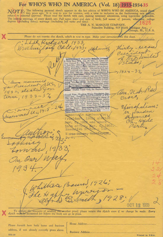 Image 1 for President Franklin D. Roosevelt - Annotated Document Unsigned - HFSID 31366