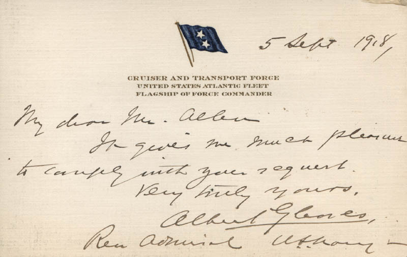 ADMIRAL ALBERT GLEAVES - AUTOGRAPH LETTER SIGNED 09/05/1918 - DOCUMENT 313663