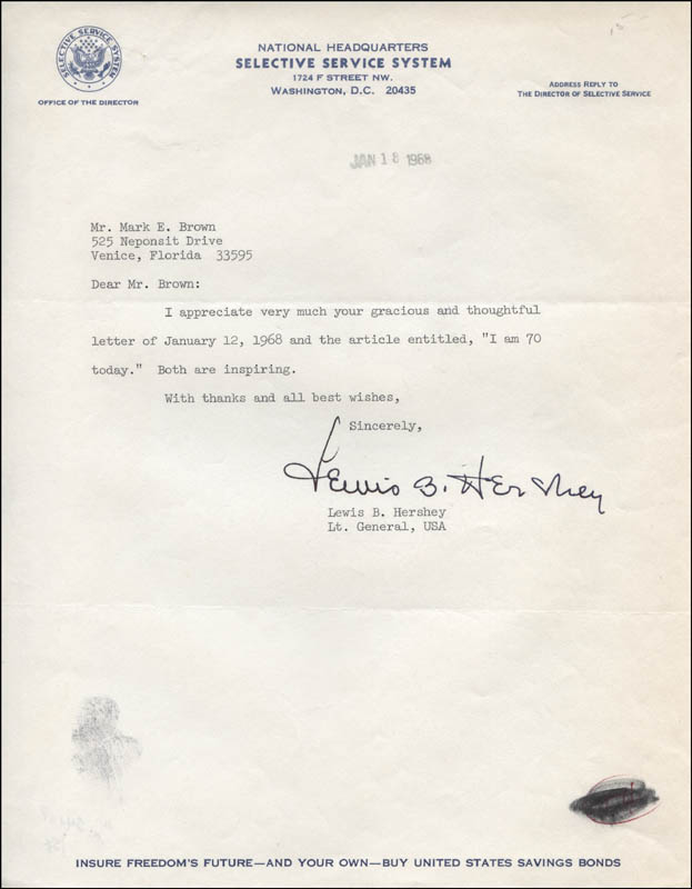 Image 1 for General Lewis B. 'Oldest Soldier' Hershey - Typed Letter Signed 01/18/1968 - HFSID 313673