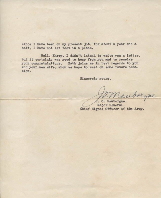 Image 1 for Major General Joseph O. Mauborgne - Typed Letter Signed 05/18/1939 - HFSID 313676