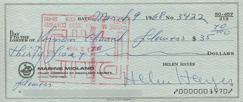 Image 1 for Helen Hayes - Autographed Signed Check 03/09/1968 - HFSID 313728