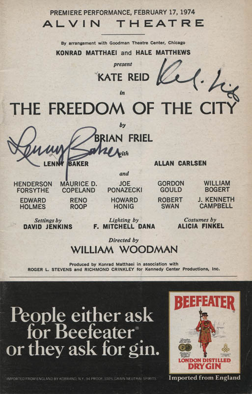 Image 1 for The Freedom Of The City Play Cast - Show Bill Signed co-signed by: Kate Reid, Lenny Baker - HFSID 313781