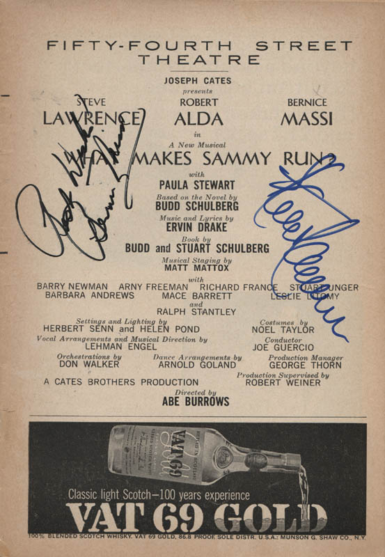 Image 1 for What Makes Sammy Run? Play Cast - Show Bill Signed co-signed by: Steve Lawrence, Bernice Massi - HFSID 313782