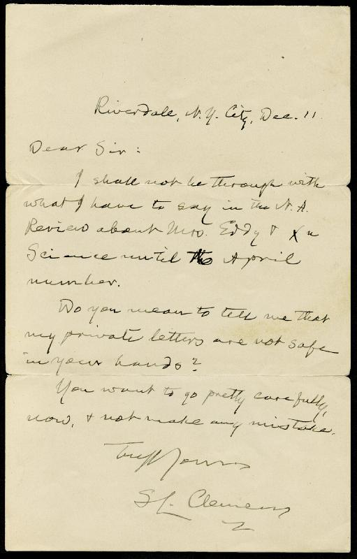 Image 1 for Samuel L. 'Mark Twain' Clemens - Autograph Letter Signed 12/11/1902 - HFSID 31407