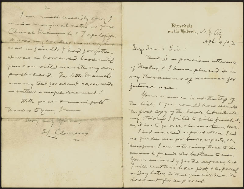 Image 1 for Samuel L. 'Mark Twain' Clemens - Autograph Letter Signed 04/04/1903 - HFSID 31408
