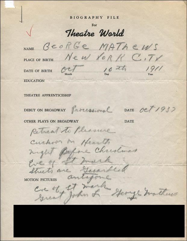 Image 1 for George Mathews - Autograph Resume Signed - HFSID 314115