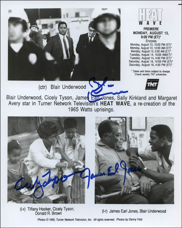 Image 1 for Heat Wave Movie Cast - Printed Photograph Signed In Ink co-signed by: Cicely Thomas, James Earl Jones, Blair Underwood - HFSID 314143