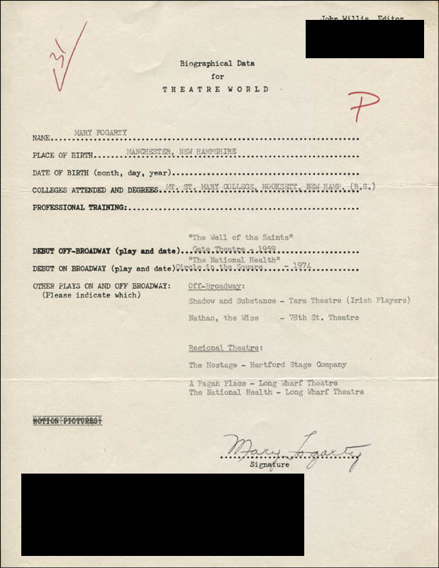 Image 1 for Mary Fogarty - Typed Resume Signed - HFSID 314292