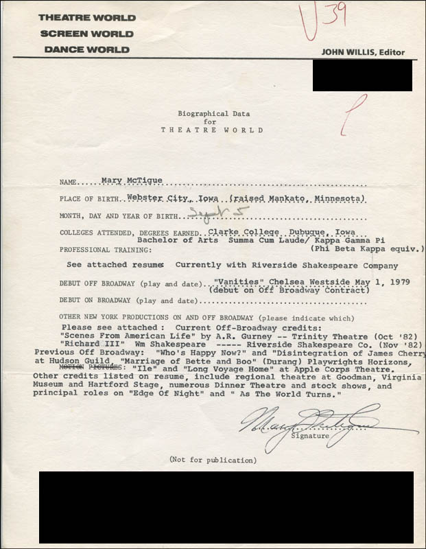 Image 1 for Mary Mctigue - Typed Resume Signed - HFSID 314328