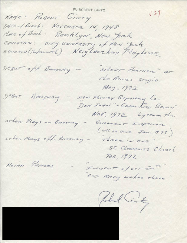 Image 1 for Robert Ginty - Autograph Resume Signed - HFSID 314344