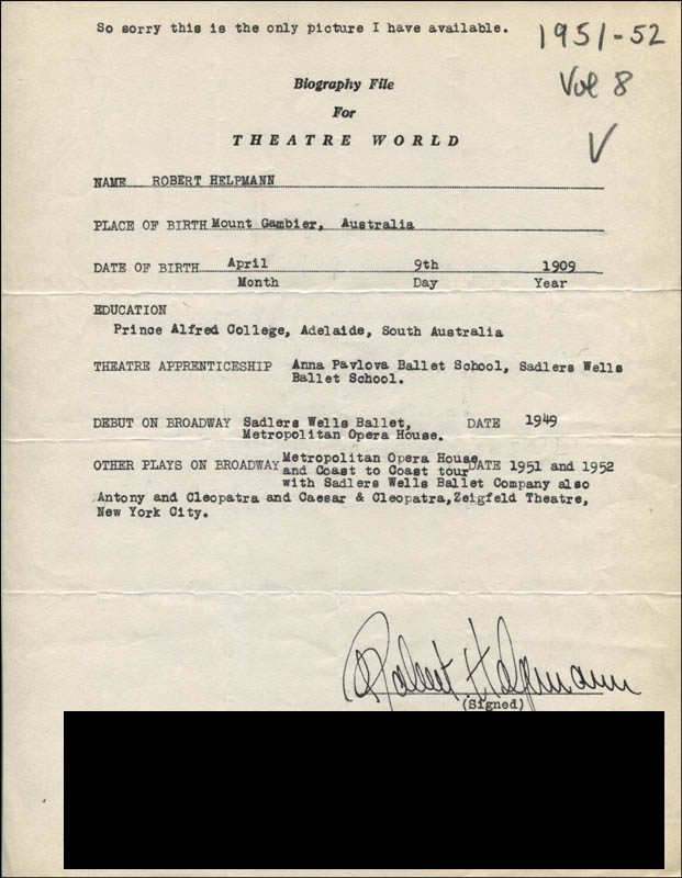 Image 1 for Robert Helpmann - Typed Resume Signed - HFSID 314420