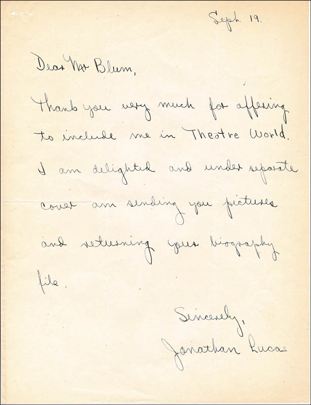 Image 1 for Jonathan Lucas - Autograph Letter Signed 09/19 - HFSID 314455