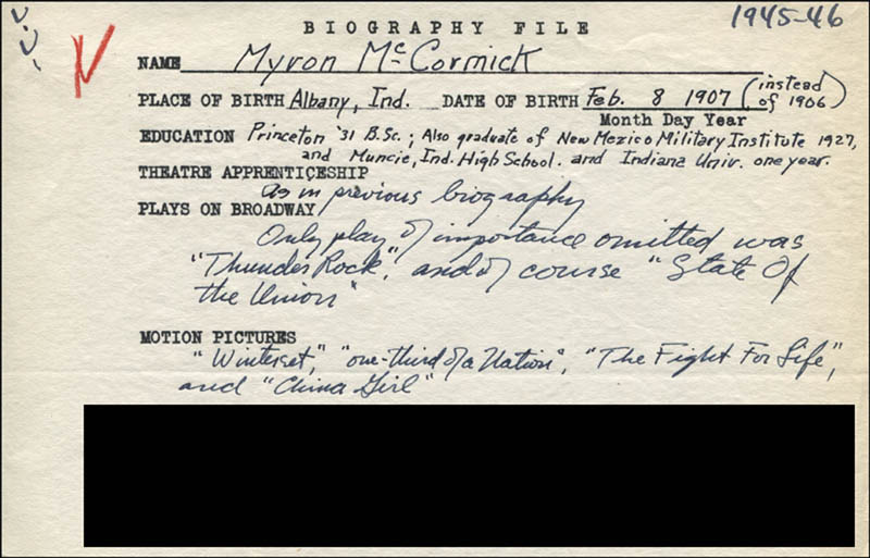 Image 1 for Myron Mccormick - Autograph Document Signed In Text - HFSID 314472