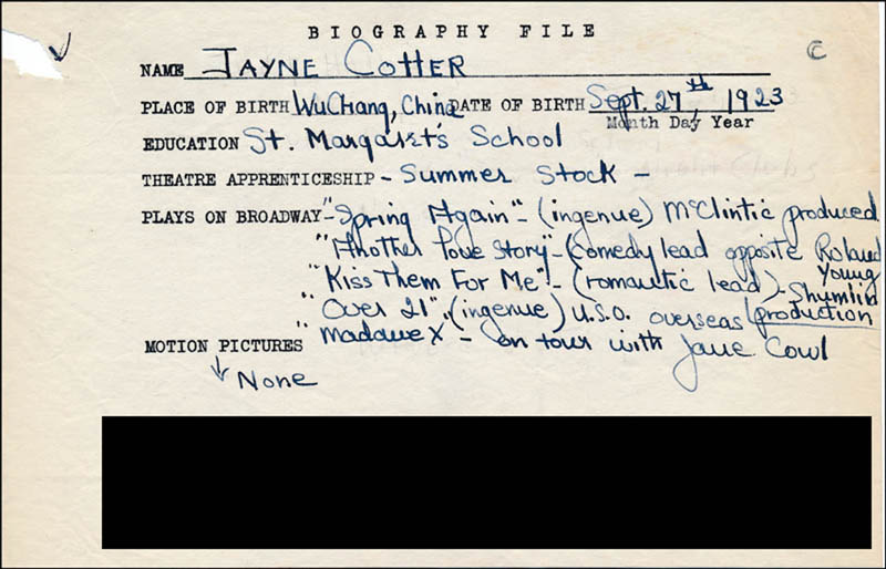 Image 1 for Jayne Cotter - Autograph Document Signed In Text - HFSID 314513