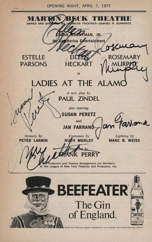 Image 1 for Ladies At The Alamo Play Cast - Show Bill Signed co-signed by: Eileen Heckart, Rosemary Murphy, Susan Peretz, Jan Farrand, Marie Cheatham - HFSID 314546