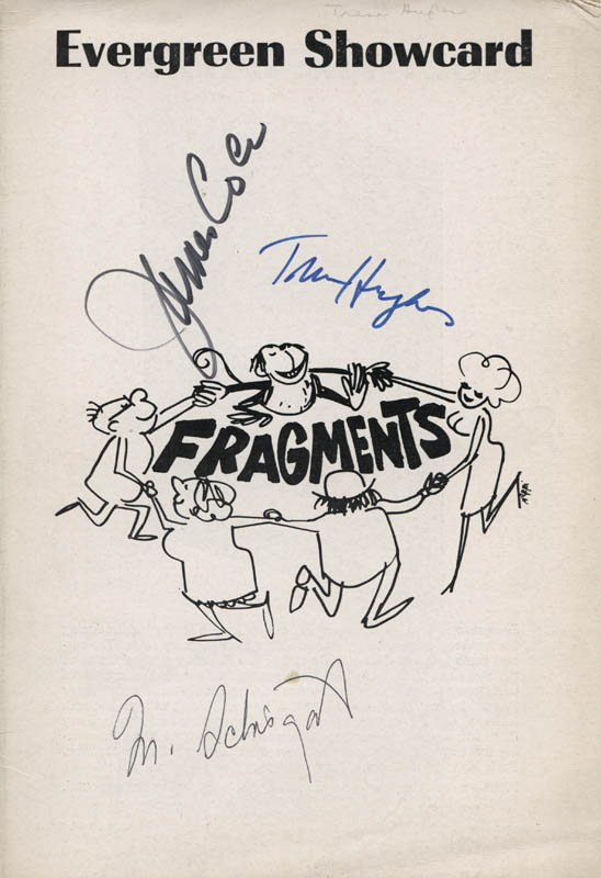 Image 1 for Fragments Play Cast - Show Bill Cover Signed co-signed by: James 'Jimmy' Coco, Tresa Hughes, Murray Schisgal - HFSID 314548