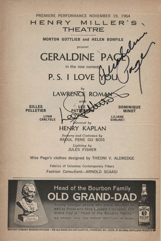 Image 1 for P.S. I Love You Play Cast - Show Bill Signed co-signed by: Geraldine Page, Lee Patterson - HFSID 314560