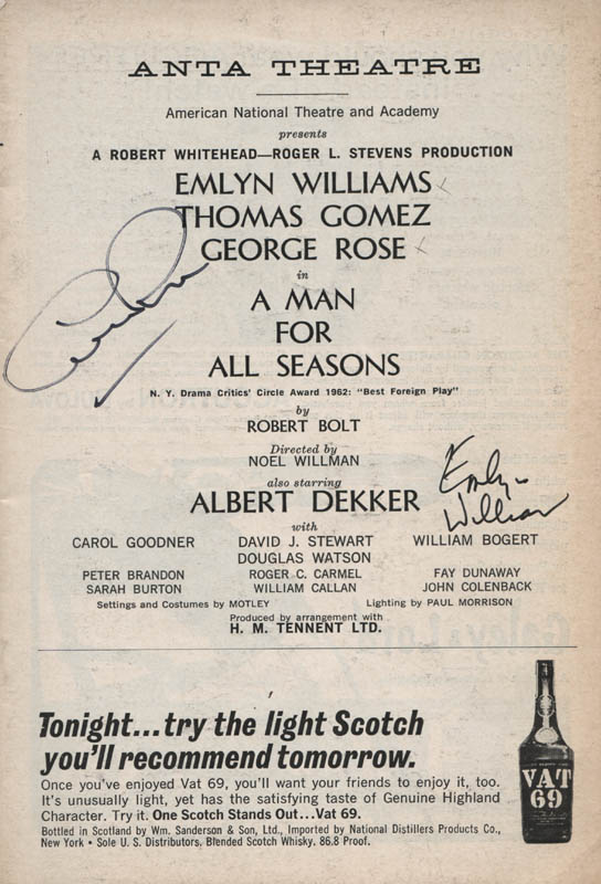 Image 1 for A Man For All Seasons Play Cast - Show Bill Signed co-signed by: George Rose, Emlyn Williams - HFSID 314561