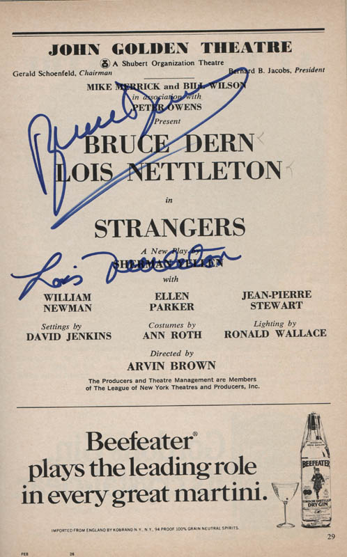 Image 1 for Strangers Play Cast - Show Bill Signed co-signed by: Bruce Dern, Lois Nettleton - HFSID 314569