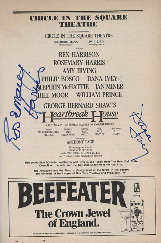 Image 1 for Heartbreak House Play Cast - Show Bill Signed co-signed by: Rosemary Harris, Dana IVey - HFSID 314583