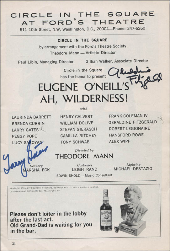 Image 1 for Ah, Wilderness! Play Cast - Show Bill Signed co-signed by: Geraldine Fitzgerald, Larry Gates - HFSID 314588