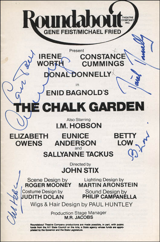 Image 1 for The Chalk Garden Play Cast - Show Bill Cover Signed co-signed by: Constance Cummings, Donal Donnelly, Betty Low, I.M. Hobson - HFSID 314592