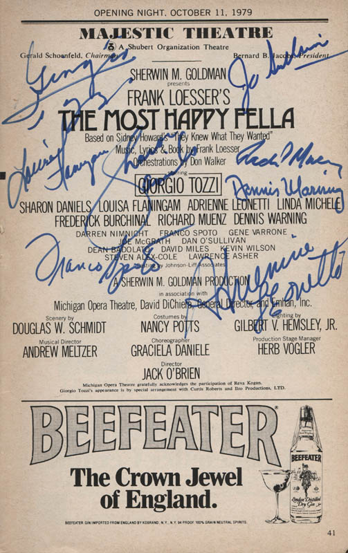 Image 1 for The Most Happy Fella Play Cast - Show Bill Signed with co-signers - HFSID 314596