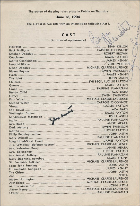 Image 1 for Ulysses In Nighttown Broadway Cast - Show Bill Signed co-signed by: Burgess Meredith, Zero Mostel, Swen Swenson - HFSID 314675