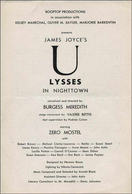 Image 3 for Ulysses In Nighttown Broadway Cast - Show Bill Signed co-signed by: Burgess Meredith, Zero Mostel, Swen Swenson - HFSID 314675