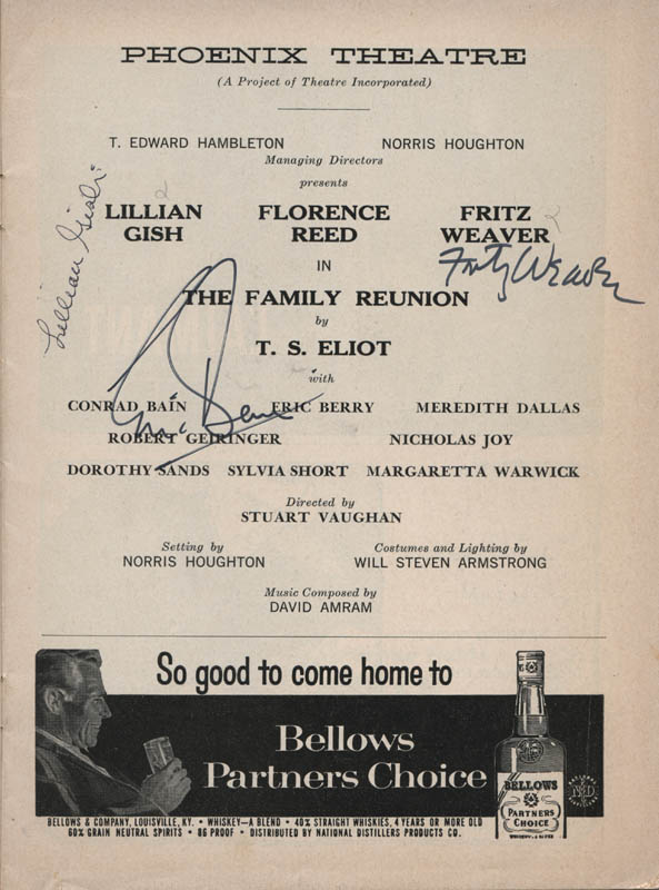 Image 1 for The Family Reunion Play Cast - Show Bill Signed co-signed by: Lillian Gish, Fritz Weaver, Eric Berry - HFSID 314679