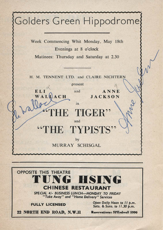 Image 1 for The Tiger And The Typist Play Cast - Show Bill Signed co-signed by: Anne Jackson, Eli Wallach - HFSID 314772