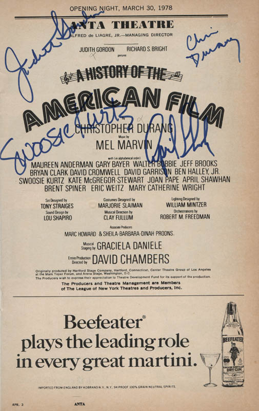 Image 1 for A History Of The American Film Play Cast - Show Bill Signed co-signed by: Swoosie Kurtz, Christopher Durang, April Shawhan, Judith Gordon - HFSID 314797