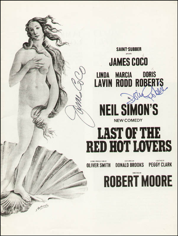 Image 1 for Last Of The Red Hot Lovers Play Cast - Show Bill Signed co-signed by: James 'Jimmy' Coco, Doris Roberts - HFSID 314798