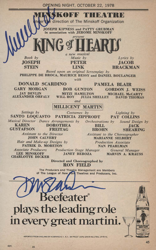 Image 1 for King Of Hearts Play Cast - Show Bill Signed co-signed by: Millicent Martin, Don Scardino - HFSID 314799