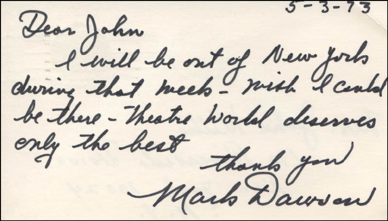 Image 1 for Mark Dawson - Autograph Letter Signed 05/03/1973 - HFSID 314836