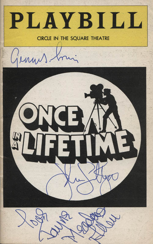 Image 1 for Once In A Lifetime Play Cast - Show Bill Cover Signed co-signed by: John Lithgow, George S. Irving, Jayne Meadows - HFSID 314908