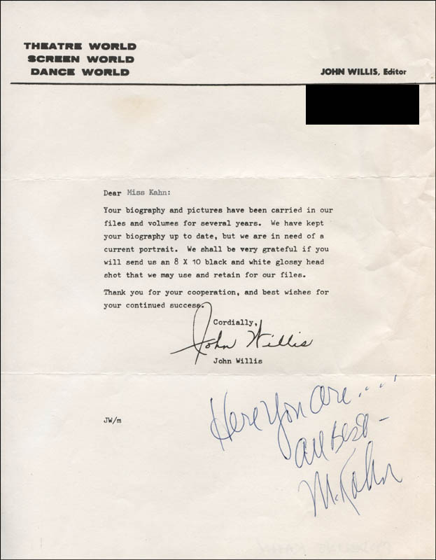 Image 1 for Madeline Kahn - Autograph Note Signed - HFSID 315230