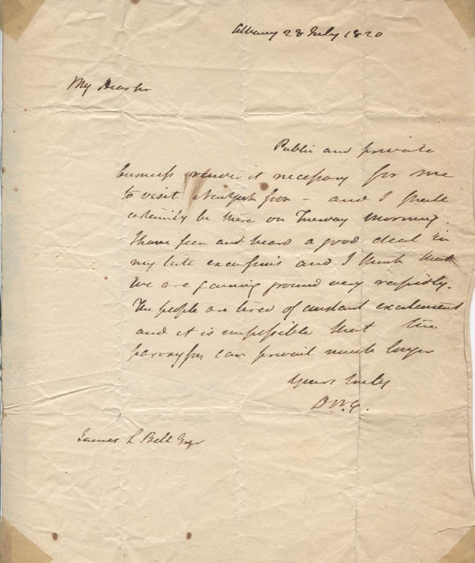 Image 1 for Governor Dewitt Clinton - Autograph Letter Signed 07/28/1820 - HFSID 315294
