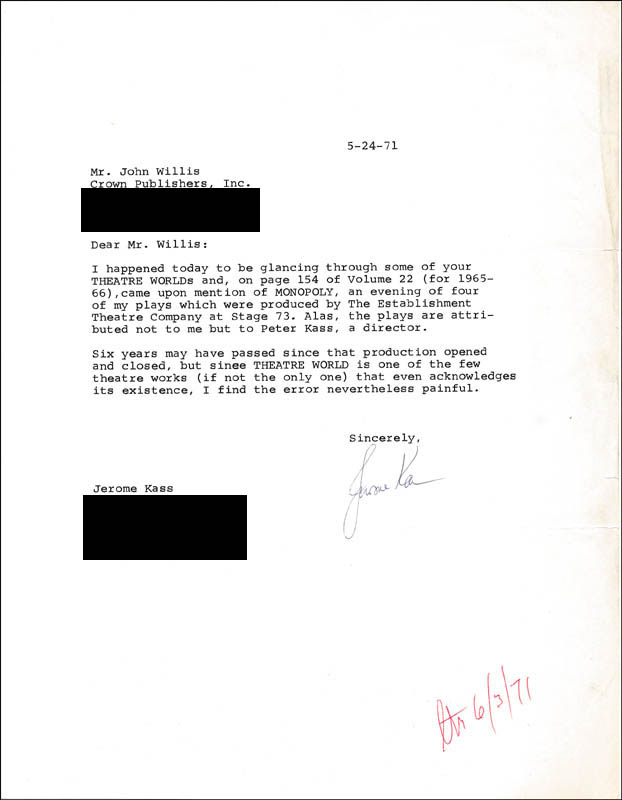 Image 1 for Jerome Kass - Typed Letter Signed 05/24/1971 - HFSID 315773