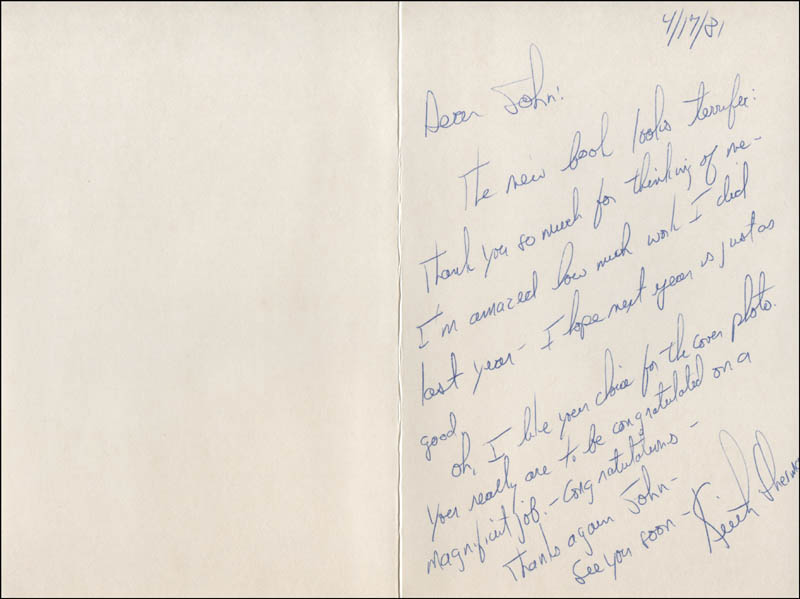 Image 1 for Keith Sherman - Autograph Letter Signed 04/17/1981 - HFSID 315796