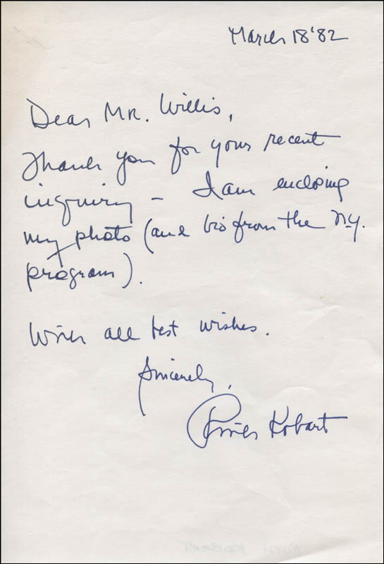 Image 1 for Ruth Kobart - Autograph Note Signed 03/18/1982 - HFSID 315797